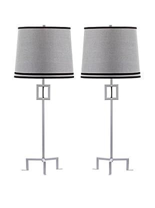 Safavieh Set of 2 Hanover Table Lamps, White/Grey