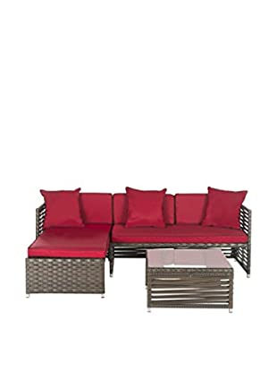 Safavieh 3-Piece Wicker Sofa Outdoor Living Set-Thomas, Brown/Red