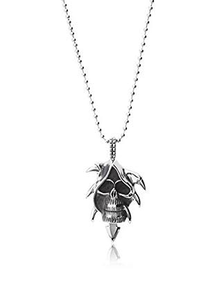 Stephen Oliver Oxidized Skull Pendant Necklace