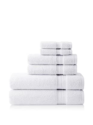 Pure Fiber Zero Twist 6-Piece Towel Set, White
