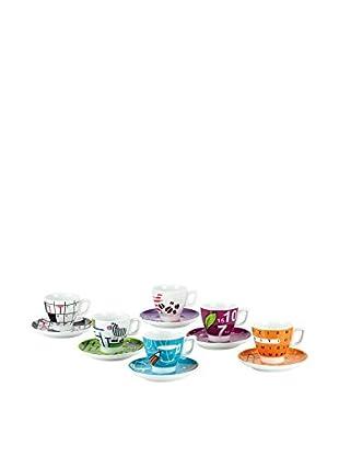 Tognana  Kaffeetasse mit Untertasse 6er Set Trivial mehrfarbig
