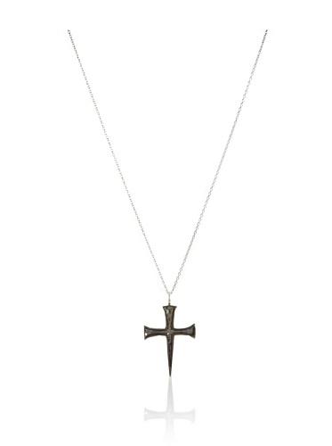 Catherine Angiel Silver & Black Rhodium Nailhead Cross Pendant Necklace