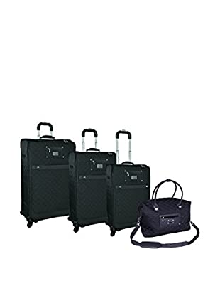 Adrienne Vittadini Quilted Nylon 4-Pc Luggage Set, Black