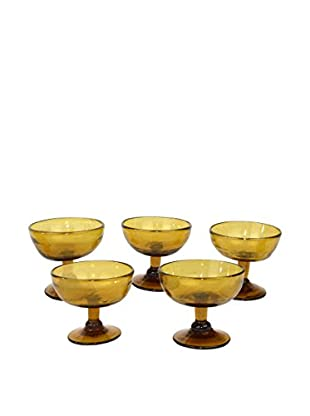 Uptown Down Previously Owned Set of 5 Hand Blown Sherbet Glasses