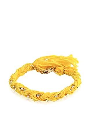 Ettika Yellow Braided Vintage Ribbon & Rhinestone Bracelet
