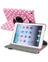 eForCity 360-Degree Swivel Leather Case for Apple iPad mini, Pink/White Polka Dot (PAPPIPDMLC57)