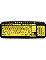 Large Print Computer Wired USB Keyboard EZSee for Better Visual Assistance - Yellow Keys With Black Characters