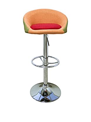 TrendyItalia Set Taburete de bar 2 Uds. Camilla Naranja/Verde/Rojo