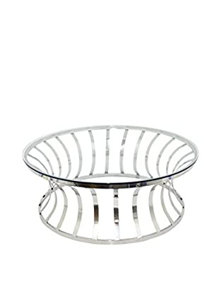 Three Hands Industrial Metal Glass Coffee Table, Silver