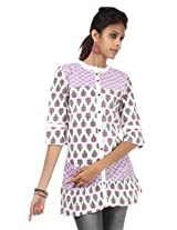 Rajrang Cotton Kurti - PTP00113 (Purple And White)