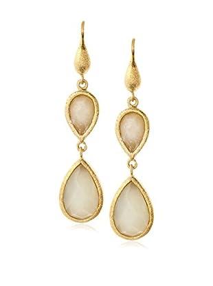 Rivka Friedman 18K Gold Clad Petite Double Teardrop New Jade Dangle Earrings