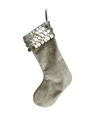 Aviva Stanoff Silver Velvet Stocking with Teardrop Trim