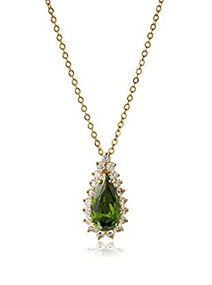CZ by Kenneth Jay Lane Elongated Green Pear CZ Pendant Necklace