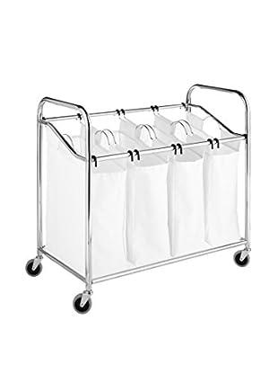 Whitmor Chrome & Canvas 4-Section Laundry Sorter, White