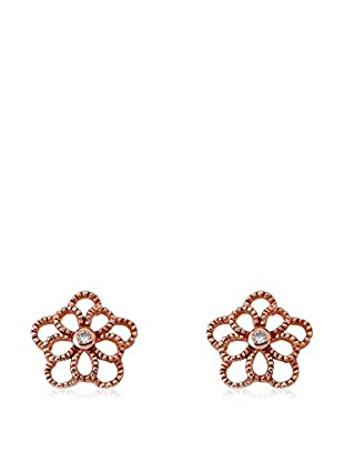 Riccova Retro CZ Open Flower Earrings, Rose Gold
