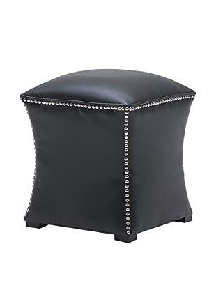 Sunpan Bellaire Leather Ottoman, Black
