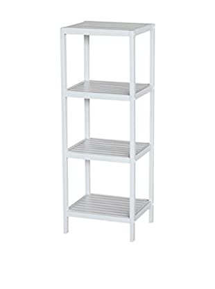 Gallerie Décor Bamboo Natural Spa 4-Shelf Tower, White