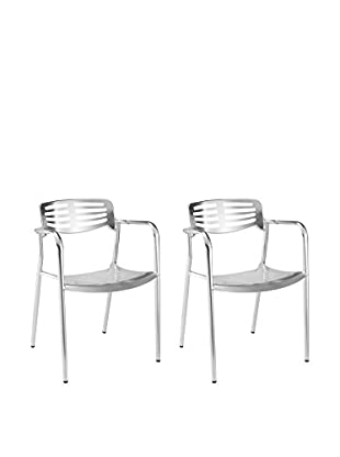 Manhattan Living Set of 2 Aluminum Dining Chairs, Silver