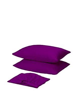 Homemania Betttuch und Kissenbezug purpur 210 x 250 cm