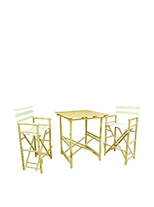 ZEW, Inc. High Table & Director Chair Set, Celadon Stripes