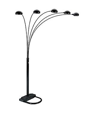 ORE International 5-Arms Arch Floor Lamp, Black
