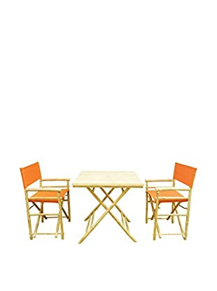 ZEW, Inc. Square Table & Director Chair Set, Pottery