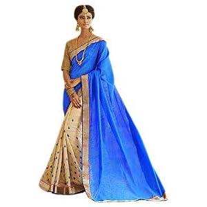 Bhagalpuri Silk Saree in Blue and Cream Colour 32012