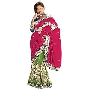 Triveni Dual Color Embroidered Lehenga Saree 2204