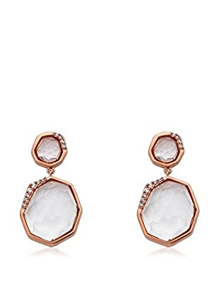 Riccova City Lights Faceted Glass Double Drop Earrings with CZs, Rose Gold