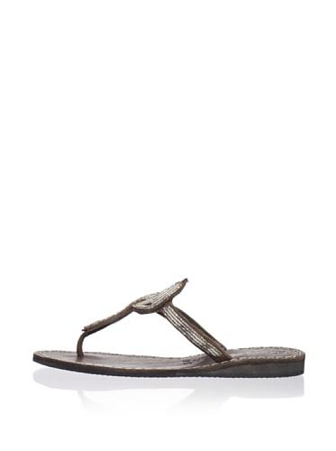 Laidback London Women's Lana Thong Sandal (Silver)