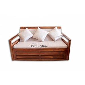 Teakwood sofa cum bed in solid structure