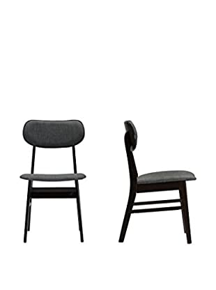 Baxton Studio Debbie Dining Chairs Set of 2, Dark Brown/Grey