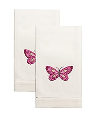 Henry Handwork Set of 2 Butterfly Embroidered Hand Towels, Ivory