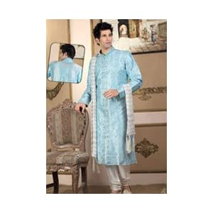 Light Blue Colored Raw Silk Material Kurta with Churidar with Embroidery Work by Utsav Fashion :