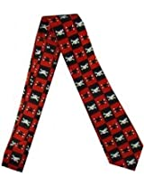 Outer Rebel Fashion Tie- Black & Red Check with Kitty Crossbones