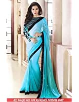 Abhaysri Fashion Bollywood Replica Sophie Choudhry Firozi Colour Georgette Fabric Party Wedding Wear Saree