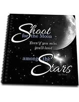 3dRose db_127606_1 Shoot for The Moon is Great for The Graduate or Promotion and Features a Quote by Les Brown Drawing Book, 8 by 8-Inch