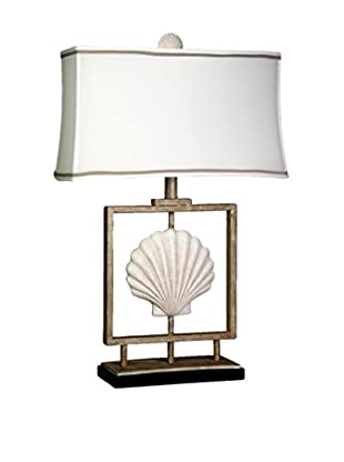 StyleCraft Coastal Metal 1-Light Table Lamp, Sand Stone