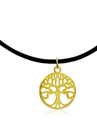 My Silver Gargantilla Árbol de la vida Oro Cuero