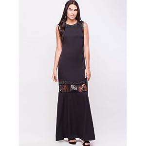 KOOVS OM-205 Sleeveless Lace Dress - Black