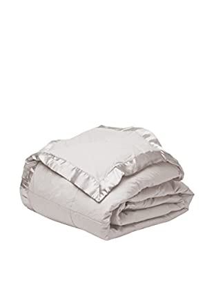Mélange Home Down Alternative Blanket with a Satin Border, Light Grey