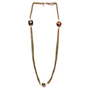 Daamak Jewellery Chain Necklace With Enamel Bead