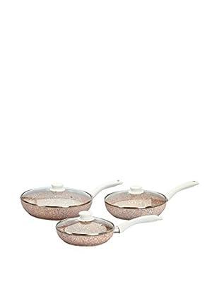 Stonerose Aluminiumpfannen-Set Stonerose 3tlg. mit Glasdeckel weiß