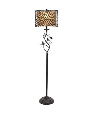 Metal, Polystone & Rattan 1-Light Floor Lamp, Dark Bronze