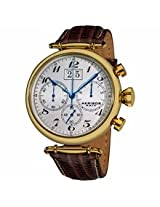 Akribos White Dial Gold Tone Steel Brown Leather Mens Watch Ak628Yg