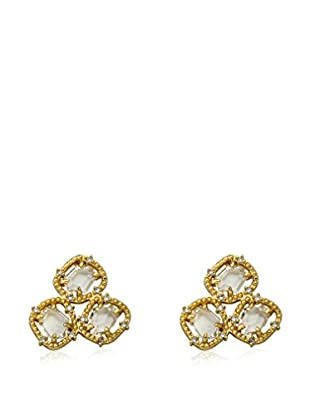 Riccova Sliced Glass Cluster Earrings with CZs