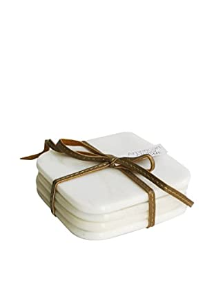 American Atelier Set of 4 Marble Coasters with Ribbon