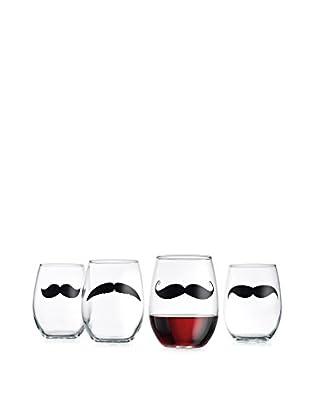Home Essentials Set of 4 Mustache 21-Oz. Stemless Wine Glasses