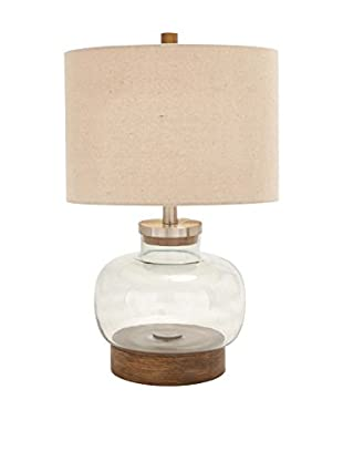 Glass & Metal 1-Light Table Lamp, Clear/Brown