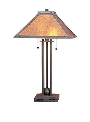 Bristol Park Lighting 2-Light Table Lamp With Night Light And Mica Shade, Rust